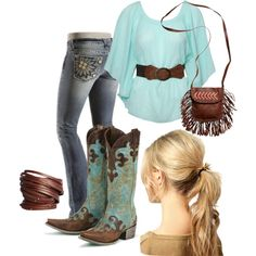 """""""country chick"""" by meghan-elsik on Polyvore Love love the shirt"""