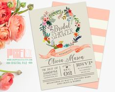 Floral Wreath Bridal Shower Invitation, Rustic Flowers with Peach Banner, Wedding Shower, Hens Party, Bridesmaid Luncheon - PRINTABLE DESIGN by shopPIXELSTIX on Etsy