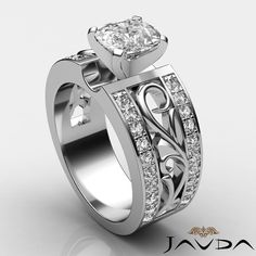 Fine Cushion Diamond Fashion Engagement Ring GIA I VS2 Clarity Platinum 1 55 Ct   eBay