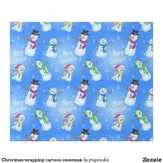 Christmas wrapping cartoon snowman great for Christmas wrapping birthday party his or her party cute, fun, cartoon design, home, craft idea, zazzle store, holiday,