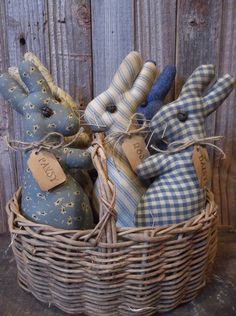 Gathering of Primitive Handmade Bunny Bowl Fillers/Ornaments - Spring/Easter…