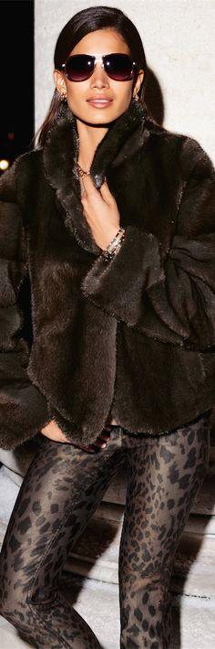 MADELEINE Fall Fashion   Mink Coat with Leopard Pants   Street 'CHIC #abbigliamento
