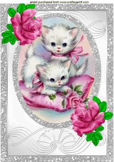 KITTENS PLAYING WITH PINK ROSES IN SPARKLE FRAME A4 on Craftsuprint - Add To Basket!