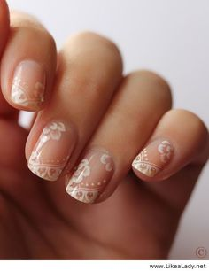 Lace wedding nails - a pretty alternative to french, subtle and delicate