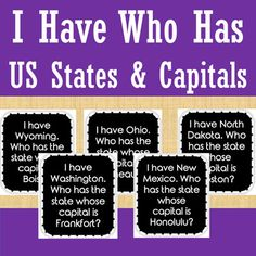 This game is a great way to review the 50 United States of America and their capitals. Just print and go! This can be used in small groups or as a whole class. The cards are available in black