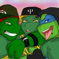 TMNT Street Punk Swift and TMNT swag Raph and Mikey  TMNT Street Punks are SirConcon and then TMNT Swag belongs to umm I forgot but you could look for them on deviantART