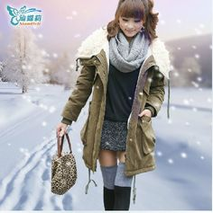 Free shipping 2013 new style warmly amy green coat  fur collar overcoat on sale from Reliable fur collar cotton coat suppliers on Top Promotional Gifts