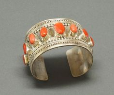 Tony Aguilar Bracelet of Silver and Peach Coral