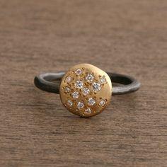 Yasuko Azuma | Cluster Diamond Ring in 18k Yellow Gold & Oxidized Sterling Silver | Max's