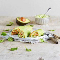 Clătite cu spanac și avocado Avocado, Fresh Rolls, Low Carb, Eggs, Keto, Snacks, Breakfast, Ethnic Recipes, Wraps