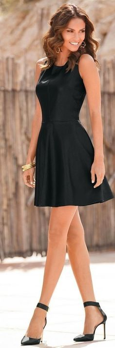 Women's Black Leather Skater Dress, Black Leather Pumps, Gold Bracelet, Gold Ring