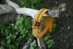 Unisex yellow suede leather infinity wrap cuff by SexyBohemian, $23.00