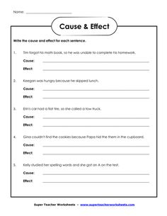 Printables Cause And Effect Worksheets For 3rd Grade cause and effect worksheet a well simple effect