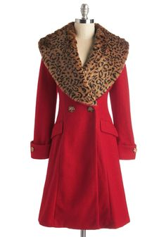 More and Roar Coat. This crimson coat is fierce, fabulous, and oh so fashionable! #red #modcloth