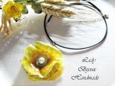 Collana in caucciù con pendente fiore Papavero giallo fatto in Sospeso Trasparente, by Lady Bijoux Handmade, 15,50 € su misshobby.com