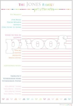 Personalized Petsitter Notes Printable. $3.00, via Etsy.