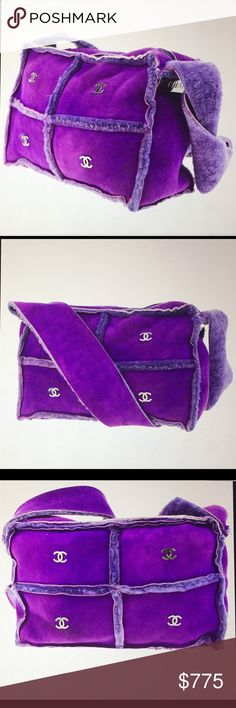 """🆕 Chanel CC Chocolate Bar Suede shoulder bag Authentic Chanel Shoulder Bag, Purple Suede leather, CC Logo hardware, zipper closure, very good condition. Comes with dust bag. Dimensions: L 9.1 x H 6"""" approx. CHANEL Bags Shoulder Bags"""