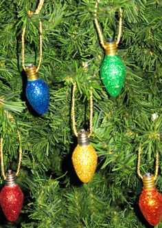 Glittered Vintage Christmas Light Bulb Ornaments