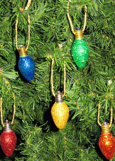 Glittered Vintage Christmas Light Bulb Ornaments
