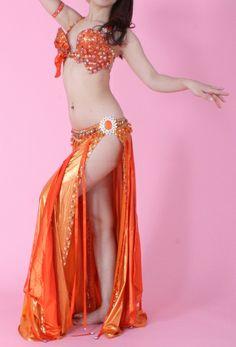 ベリーダンス衣装 オレンジ×ビジュー Mamdouh salama - ベリーダンス衣装セレクトショップ アナシア
