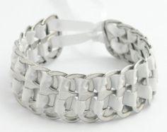 black recycled pop tab bracelet stacked weave 7 by tabsolute