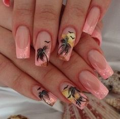 French tip Palm Tree Nail Art design. The melon colored French tips is a…