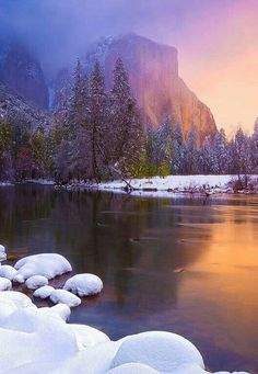 El Capitan Del Valle in the winter ~ Yosemite National Park; photo by Ryan Dyar California National Parks, Yosemite National Park, California Usa, Places Around The World, Around The Worlds, Landscape Photography, Nature Photography, Photos Voyages, Parcs
