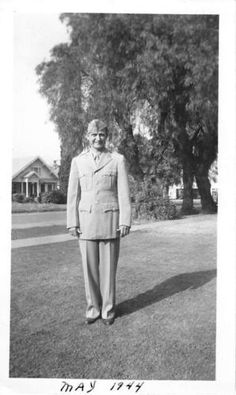 Black and White Vintage Snapshot Photograph WWII Military Uniform Smile 1940's