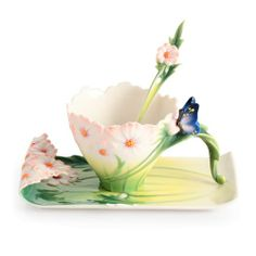 Cosmos and Butterfly Cup, Saucer and Spoon Set by the #Franz Collection