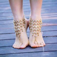 Elegant-Princess-Ankle-Bracelets-Shimmering-Barefoot-Sandals-Jewelry-for-Feet-Elven-Meadow # Herrenschmuck Fashion Bracelets, Fashion Necklace, Fashion Jewelry, Women Jewelry, Anklet Bracelet, Anklets, Bracelet Men, Charm Jewelry, Silver Jewelry