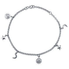 Sterling Silver Anklet Ankle Bracelet with Sun Moon Stars Charms ...