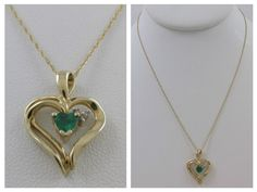 14KT YELLOW GOLD HEART SHAPED EMERALD & DIAMOND HEART PENDANT & NECKLACE
