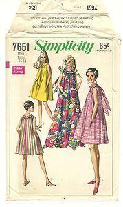 Vintage 60s MOD Trapeze Aline Simplicity Dress Pattern Mini Long B38 B40