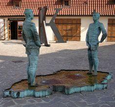 "Where are the women peeing?  ""kafka museum, public sculpture, peeing men water feature, prague"""