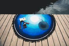 Chilling in the Blue. Blue Lagoon Round Towel.