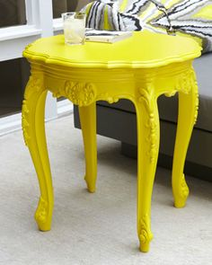 Love this yellow side table