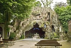 Grotto Notre-Dame de Lourdes and chapel in Jette, Belgium (Brabant Province, near Brussels). Ave Maria.