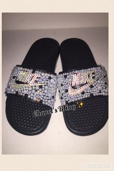 f1c7b23bf8b Custom Bling Nike Flip Flop Slides Benassi Embellished with high quality  rhinestones and pearls Nike Flip