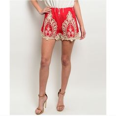 HP 2/24Red Cream Embroidered Crochet Shorts M Red and cream embroidered crochet shorts, 100% Cotton, Size Medium.  No Trades, Price Firm unless Bundled.  BUNDLE 3 OR MORE ITEMS FOR 15 % OFF. Boutique Shorts