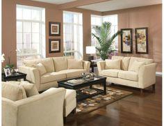 Casual Cream Velvet Fabric Sofa Loveseat Chair Living Room Set Pillow