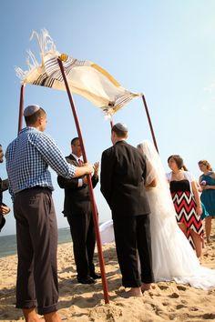 Traditional Jewish Wedding Chuppah (Huppah) with Tallis (Tallit) {Tiffany Caldwell Photography} - mazelmoments.com