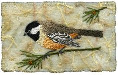 "I ❤ embroidered birds . . . ""Stunning"" Chickadee and Pine- A little hand embroidered chickadee perched on a pine branch. The background is felted with an embellisher felting machine and includes little scraps of yarn and threads and hint of cheese cloth. This one has sold already and is heading south to a new home. 4 ½"" x 2 ¾""  9"" x 11"" framed ~By Kirsten Chursinoff"