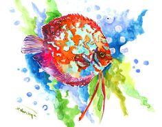 Discus, Original watercolor painting, rainbow colors, red, blue, yellow, purple bright wall art, children art, aquarium