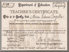 Laura's Teacher's Certificate.