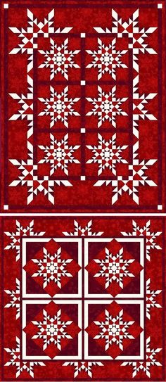 """Star Flakes"" (two quilts) by Linda Guedel"
