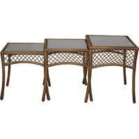 3PC NESTED STEEL/WICKER TABLES by WORLDWIDE SOURCING. $141.87. 3-piece woven nesting table set provides extra surfaces when needed or nests when not in use.Steel/PVC wicker surfaces and glass tops.