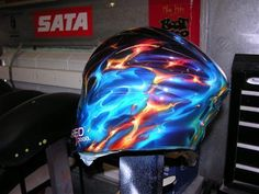 614bb1db fuego azul y rojo Airbrush Art, Custom Paint, Bicycle Helmet, Buckets,  Helmets