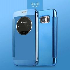 For Samsung Galaxy S7 edge/ A5 2016 A510 S6 Luxury Smart Flip Slim View Electroplating Mirror Hard Clear Transparent Case Cover