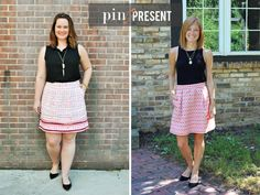 Bloggers being inspired by bloggers! Black sleeveless top, patterned skirt, black flats. Work and casual outfit.