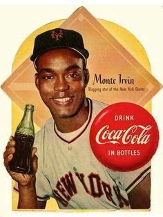 Circa 1954 Coca-Cola ad featuring Monte Irvin of the New York Giants. Coca Cola Poster, Coca Cola Ad, Always Coca Cola, World Of Coca Cola, Retro Advertising, Vintage Advertisements, Vintage Ads, Vintage Posters, Vintage Signs